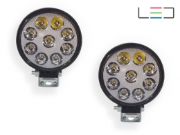 PAR FAROL LED AUXILIAR MILHA REDONDO MINI COM 9 LEDS