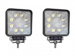 PAR FAROL LED AUXILIAR QUADRADO COM 9 LEDS 27W 12/24V