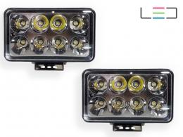 VO KIT PAR DE FAROL AUXILIAR RETANGULAR COM 8 LEDS 12/24V