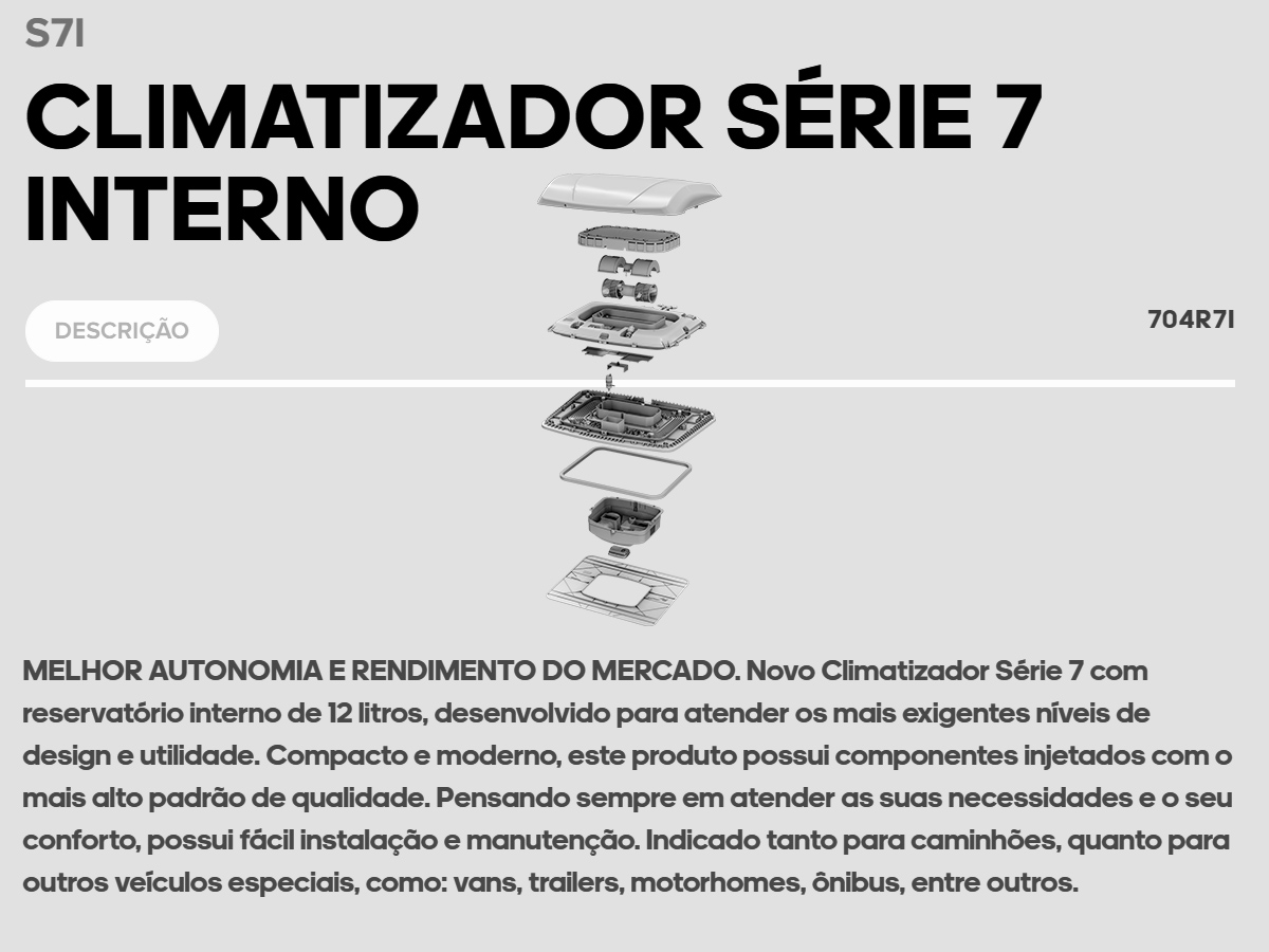 CLIMATIZADOR RESFRIAR S7 COM RESERVATORIO INTERNO 24V