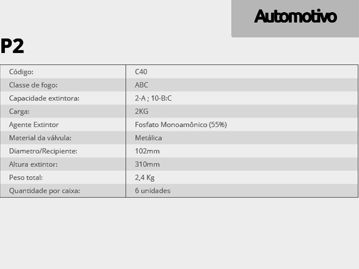 EXTINTOR AUTOMOTIVO 2KG ABC + SUPORTE VEICULAR VALIDADE 5 AN