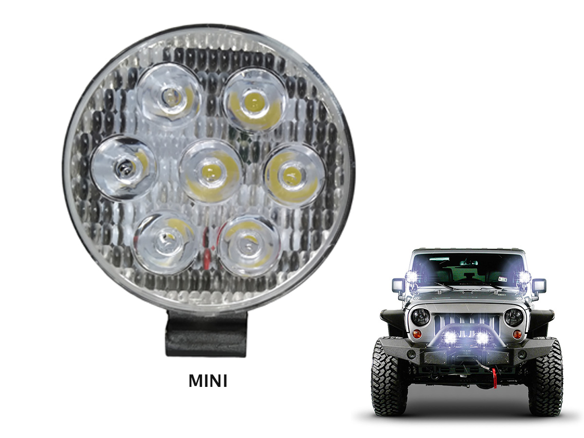 FAROL AUXILIAR REDONDO MINI COM 7 LEDS