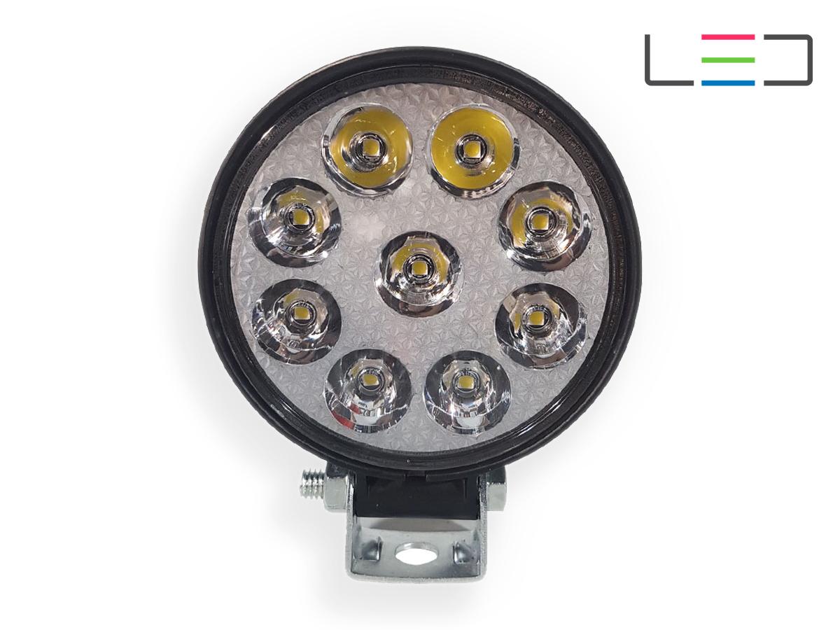 FAROL LED AUXILIAR MILHA REDONDO MINI COM 9 LEDS