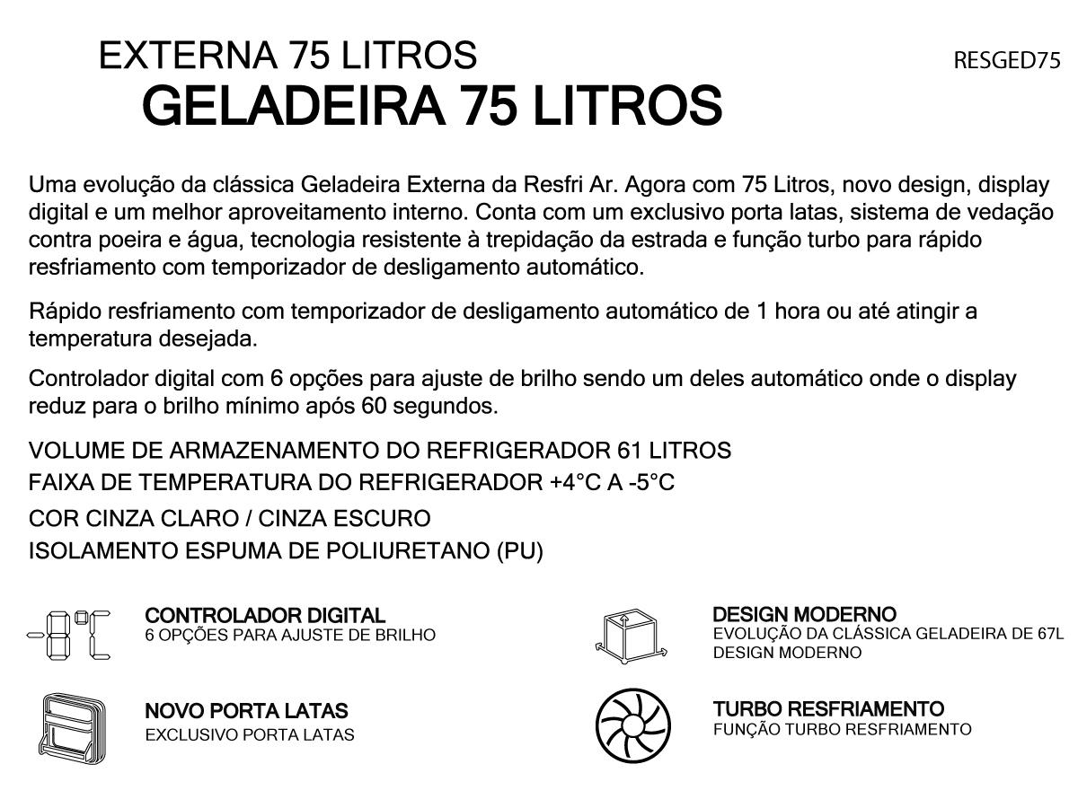 GELADEIRA CAMINHÃO CARRETA PORTATIL 75L RESFRIAR 12/24V AUTO
