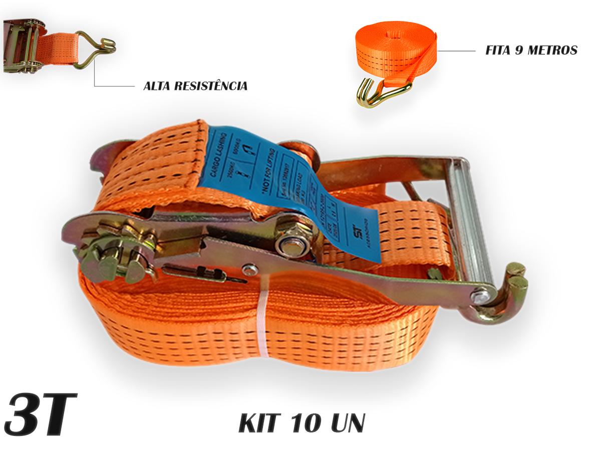Kit 10 Catraca + 10 Cinta Amarração 9 metros rabicho J