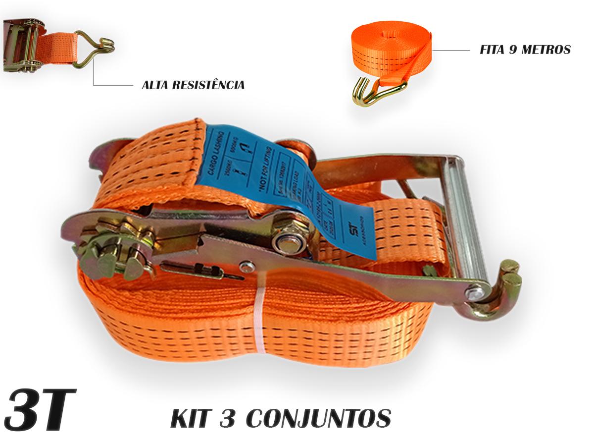 Kit 3 Catraca 3 TONELADAS + 3 Cinta Amarraçao 9 metros J