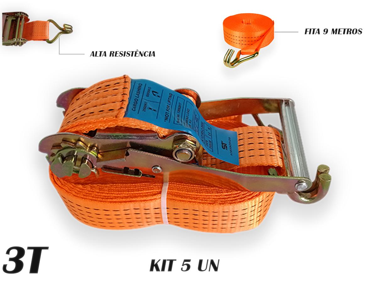 Kit 5 Catraca 3 TONELADAS + 5 Cinta Amarraçao 9 metros J