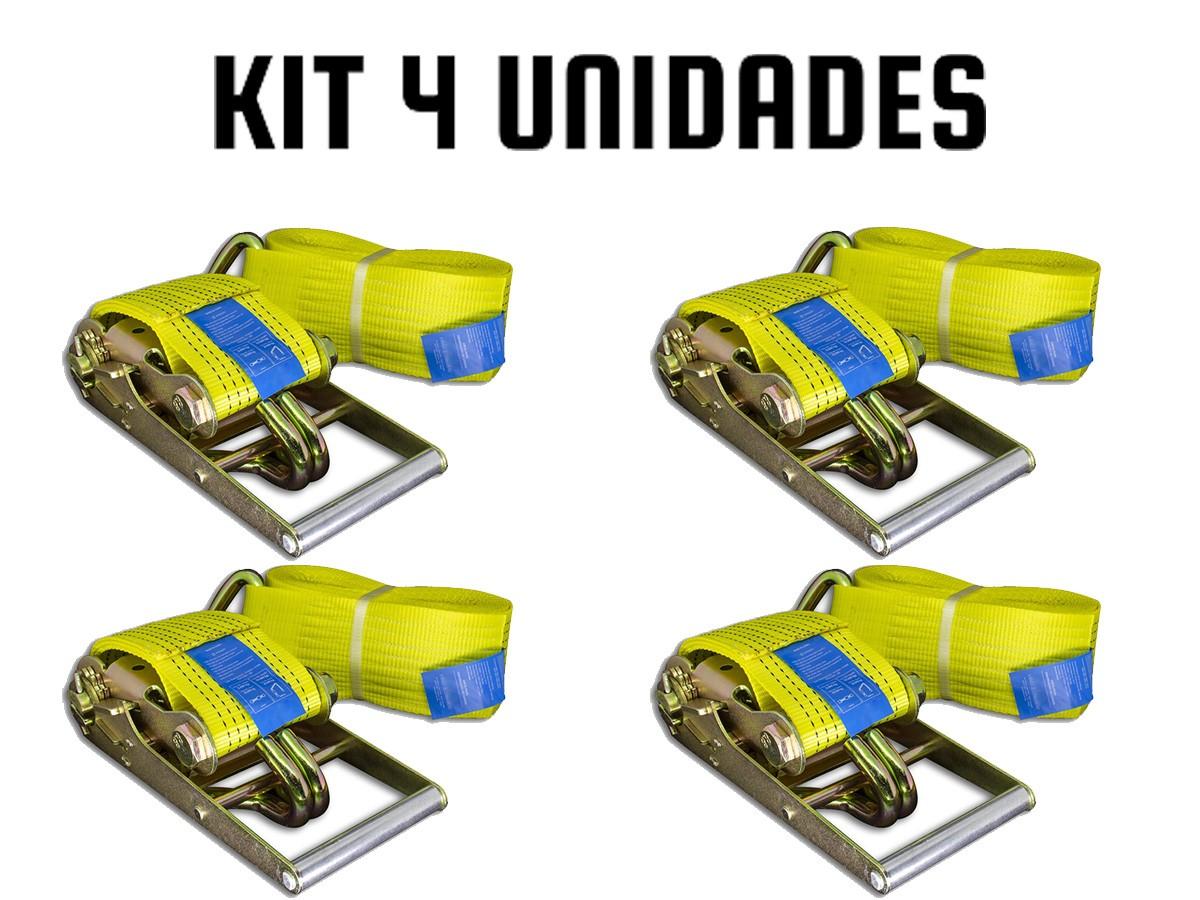 KIT COM 4 CATRACA + 4 CINTA AMARRAÇÃO 10 TONELADAS 9 METROS