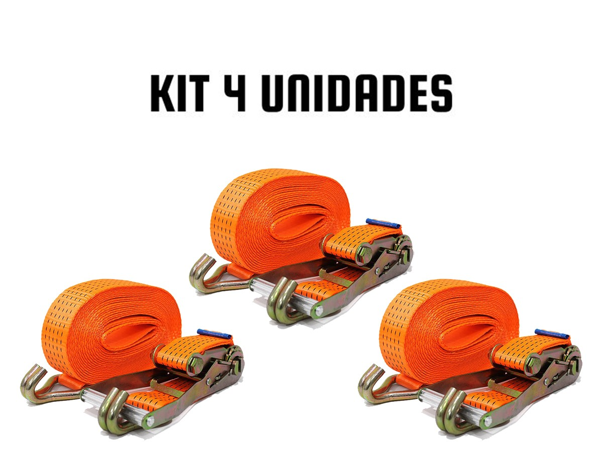 KIT COM 4 CATRACA + 4 CINTAS AMARRAÇÃO 5 TONELADAS 9 METROS