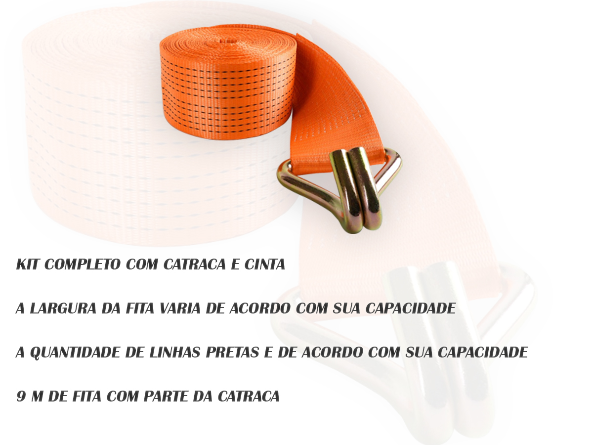 KIT COM 6 CATRACA + CINTA AMARRAÇÃO 5 TONELADAS 9 METROS
