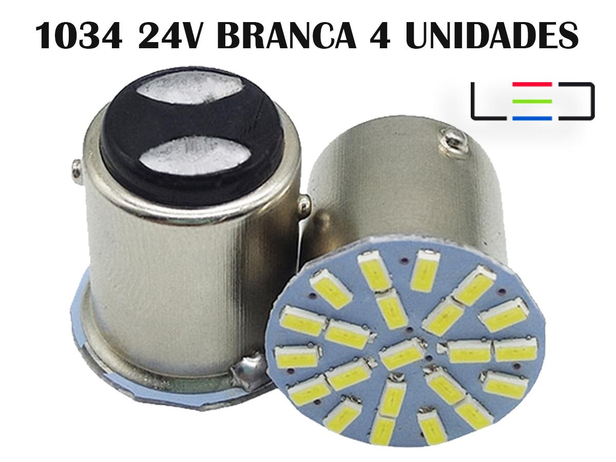 LÂMPADA LED PARA CARRO VEÍCULOS 24V 1034 BRANCO FRIO 4 UNIDA
