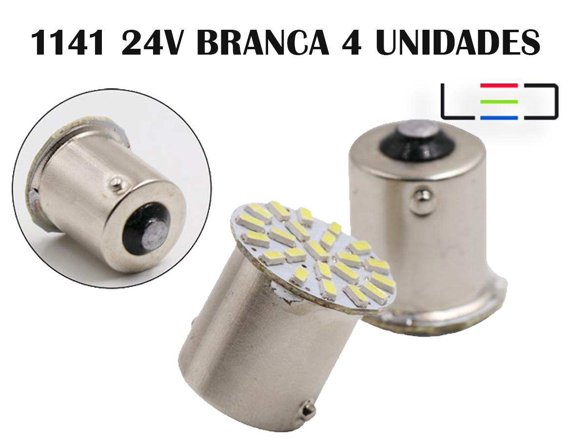 LÂMPADA LED PARA CARRO VEÍCULOS 24V 1141 BRANCO FRIO 4 PEÇAS