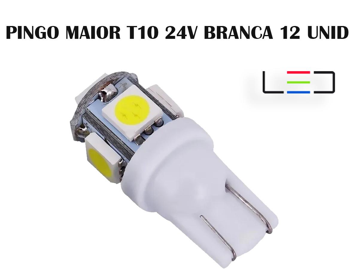 LÂMPADA LED SUPER LED PARA CARRO VEÍCULOS 12V T10 BRANCO 12U