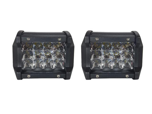 PAR FAROL LED MILHA AUXILIAR RETANGULAR 12 LEDS 12/24V
