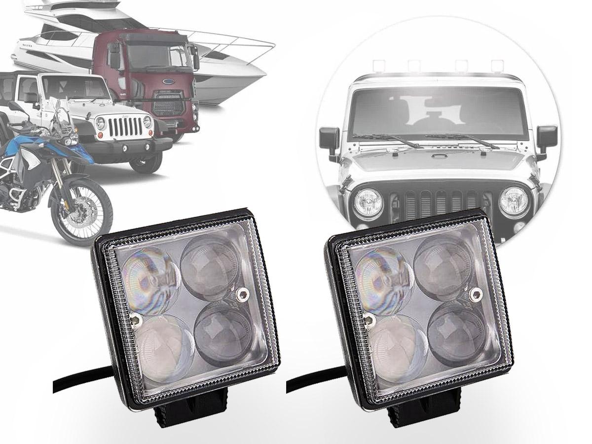 PAR FAROL LED MILHA AUXILIAR RETANGULAR 6 LEDS 12/24V