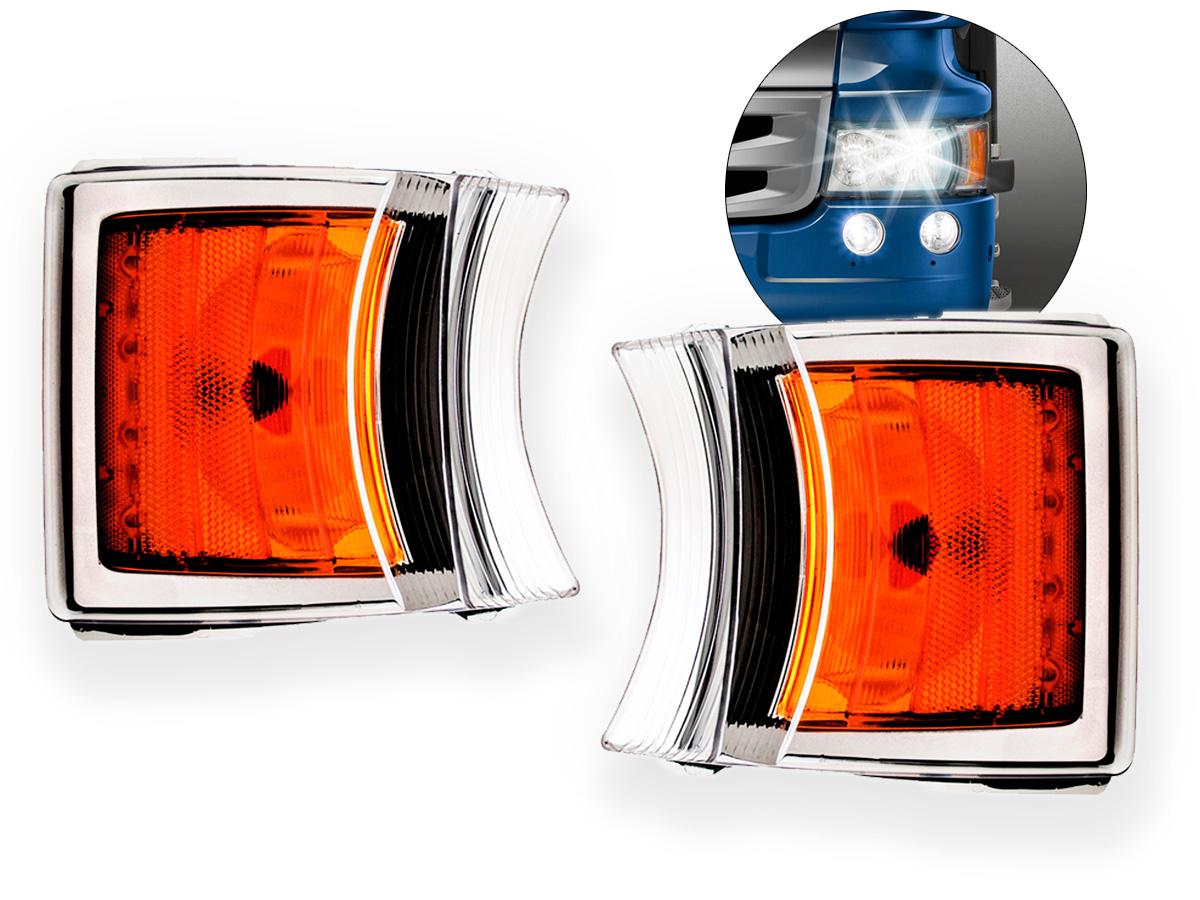 Par Lanterna Dianteira Pisca Seta LED Scania 124 S5 S6