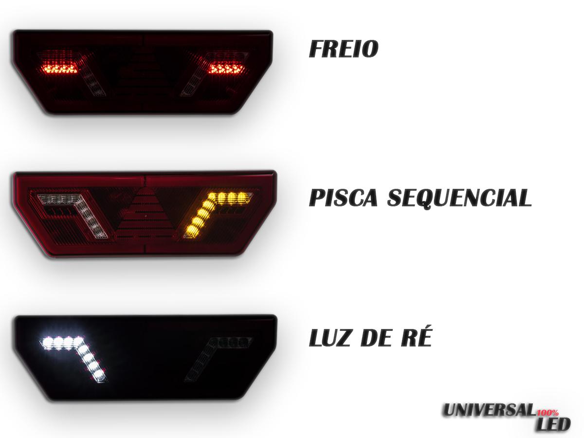 PAR LANTERNA TRASEIRA 12V GUERRA LED PISCA SEQUERNCIAL UNIVE