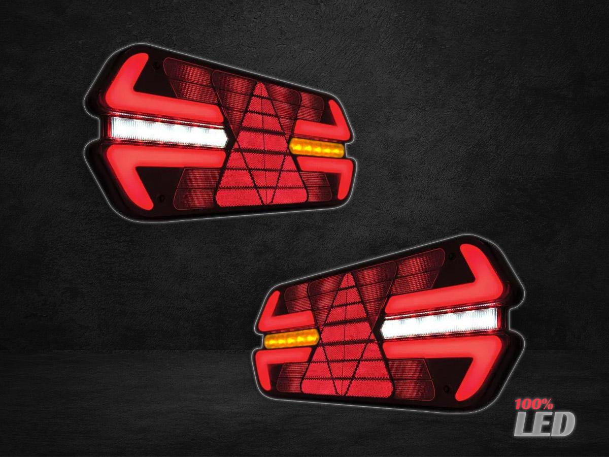 PAR LANTERNA TRASEIRA CARRETA TRIPLO X LED 24V LADOS L-D L-E