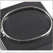 Bracelete meia cana oval 3mm - Prata 925