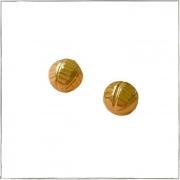 Brinco de bolinha pequeno trabalhada - banho de ouro 18k