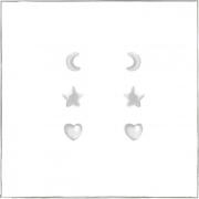 Brinco trio lua estrela e coração - Prata 925