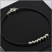 Pulseira de cristais preto com bolas de prata  - Prata 925