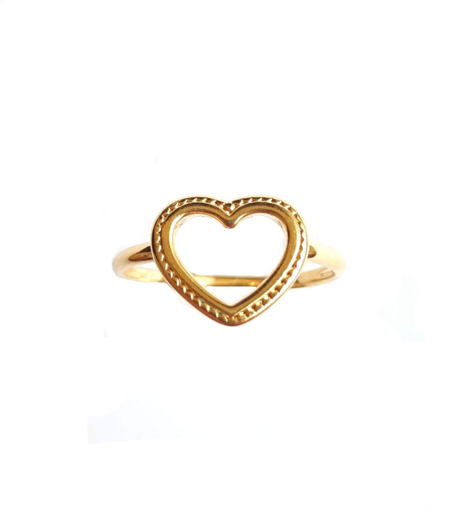 Anel de Coração Vazado  - Banho de Ouro 18k