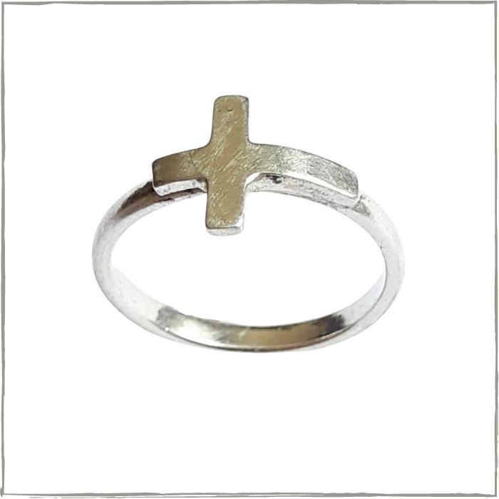Anel falange modelo cruz de lado - Prata 925