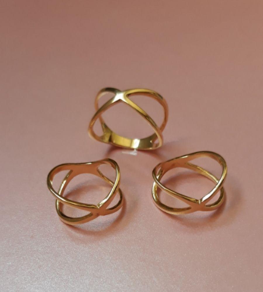 Anel Dourado Duplo Cruzado - Banho de Ouro 18k