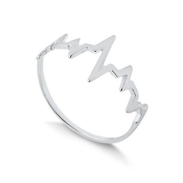 Anel Prata Batimentos Cardíacos Liso - Prata 925