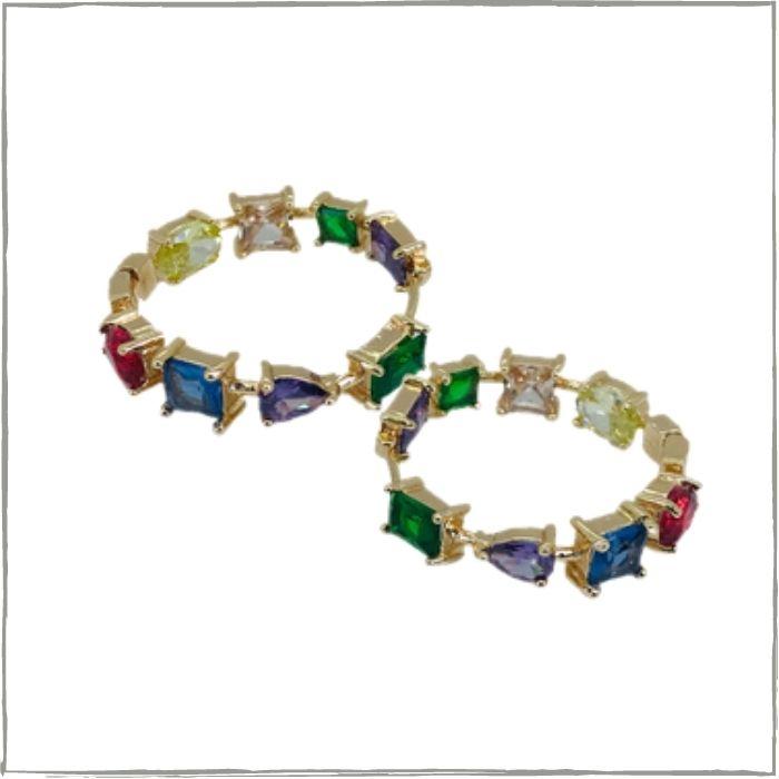 Brinco argola colorida com zircônias -  Banho de ouro 18k