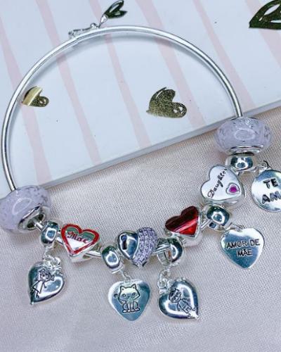 Berloque Coração de Prata 925 - Gatinho