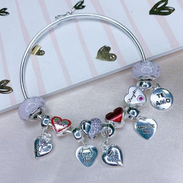 Berloque coração com gatinho - Prata 925