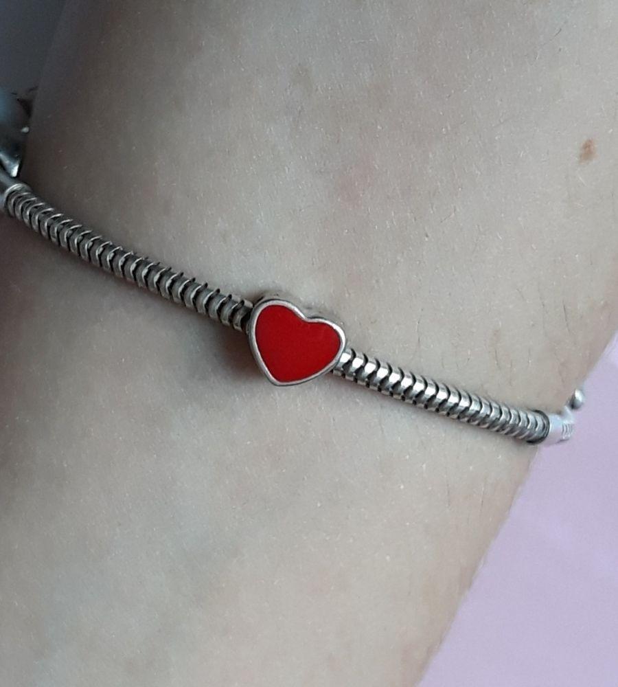 Berloque Coração Vermelho - Prata 925