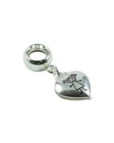 Berloque de Prata 925 Coração com Menina