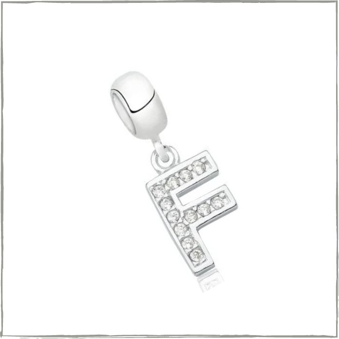 Berloque letra F com zircônias - Prata 925