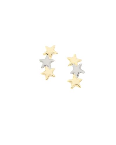 Brinco 3 Estrelas Bicoloor - Banho de Ouro