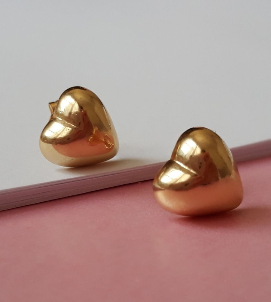 Brinco Coração 2º Furo G - Banho de Ouro
