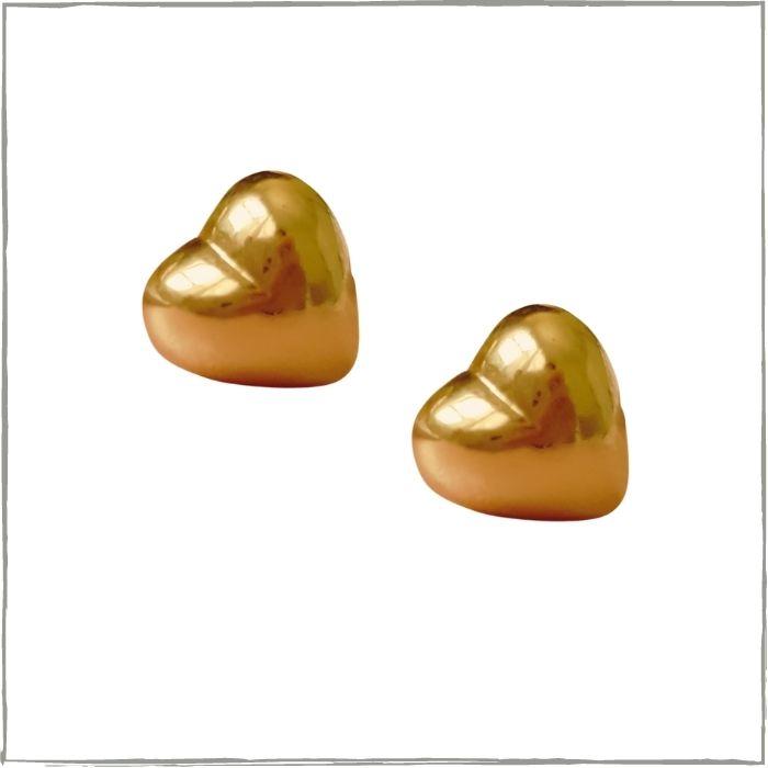 Brinco coração M - banho de ouro 18k