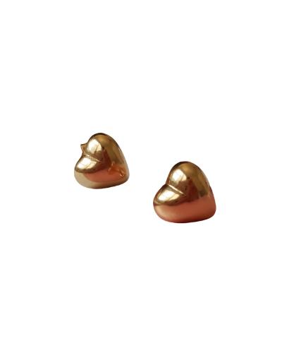 Brinco Coração 2º Furo M - Banho de Ouro