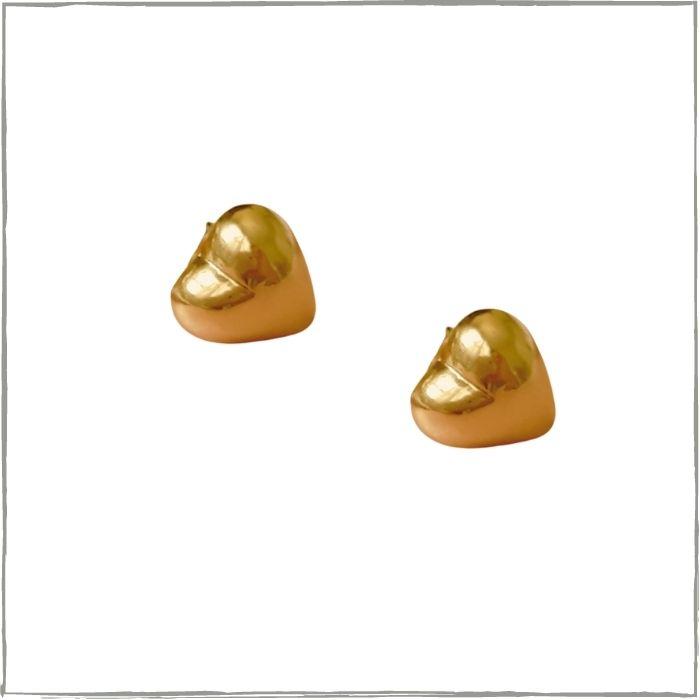 Brinco coração P - banho de ouro 18k