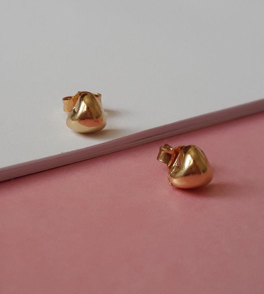 Brinco Coração 2º Furo P - Banho de Ouro