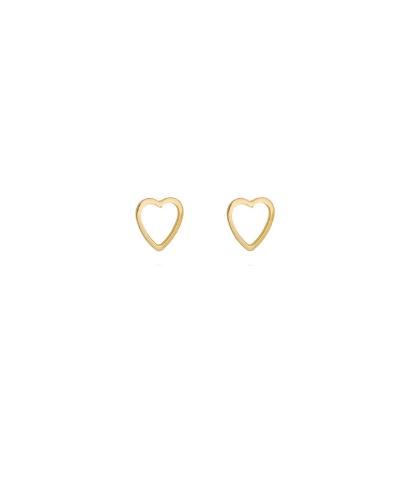 Brinco Coração Vazado - Banho de Ouro