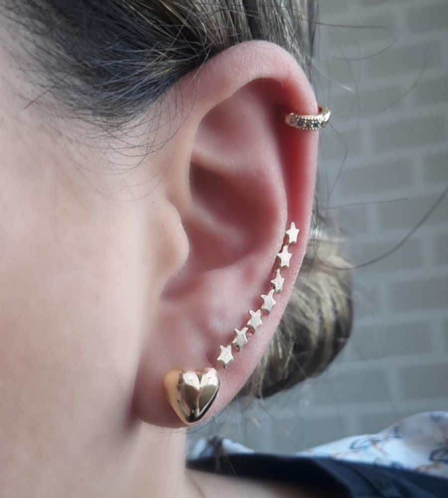 Brinco Ear Cuff 7 Estrelas - Banho de Ouro