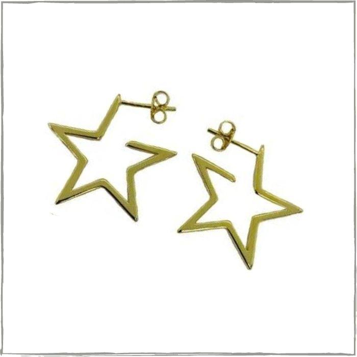Brinco argola estrela - banho de ouro 18k