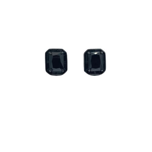 Brinco Folheado Ródio Negro Com Zircônia