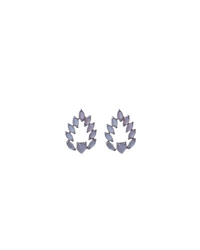 Brinco Navetes com Coração - Prata 925