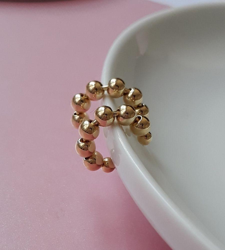 Brinco Piercing de Pressão Bolinhas - Banho de Ouro