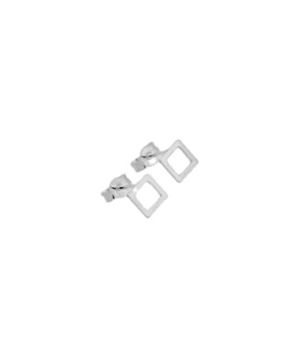 Brinco quadrado vazado  - Prata 925