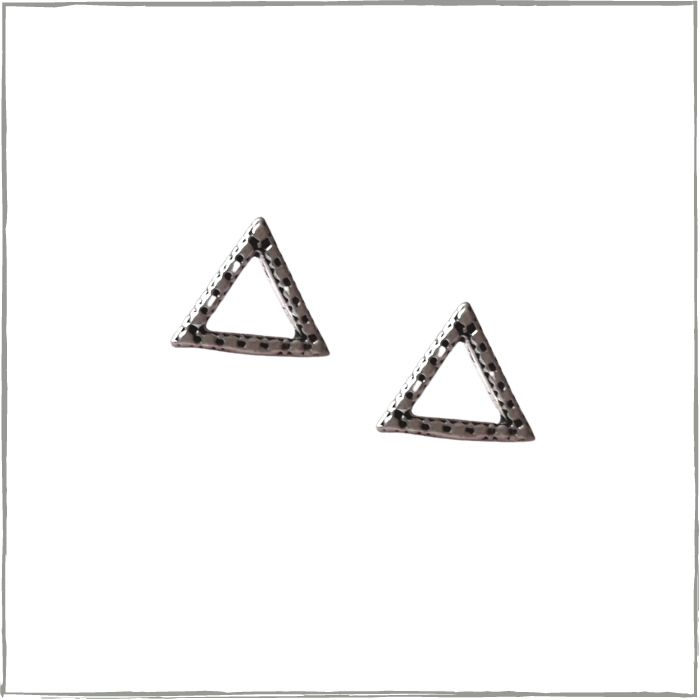 Brinco triângulo vazado - Prata 925